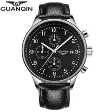 GUANQIN GQ20141 Genuine multifunction Chronograph watch quartz watches men Three small dials business black Leather strap