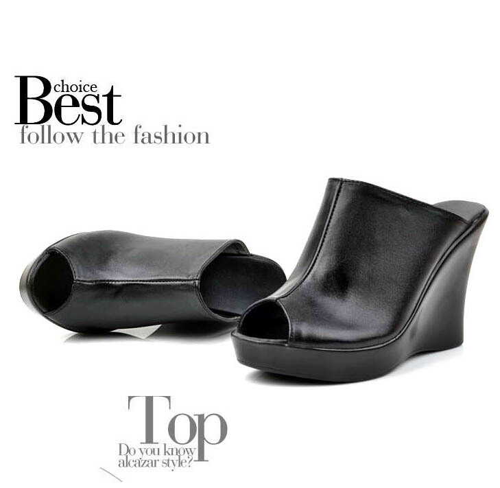 Plus Size High Heels Women Wedge Sandals Clogs Genuine Leather Women Platform Shoes 2015 Ladies Sexy Pumps Flip Flops Slippers(China (Mainland))