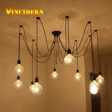 Black Spider Chandelier Lamp Vintage Retro Pendant Lamps E27 E26 Edison Creative Loft Art Decorative DIY Chandelier Light(China (Mainland))