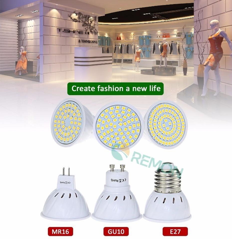 Lampada E27 GU10 MR16 48led 60led 80led LED Bulb Spotlight  Lampara LED Lamp 220V SMD2835 Spot Light 230V Cold / Warm White