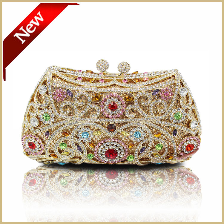 Colorful Crystal clutch bags elegant rhinestone Evening Bags Party clutches Women Bag Wedding Purse and Handbags DHL Free(China (Mainland))