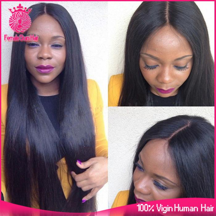 7A Grade Brazilian Virgin Hair Glueless Lace Front Human Hair Wigs Straight 130% Density Full Lace Human Hair Wigs U Part Wigs(China (Mainland))