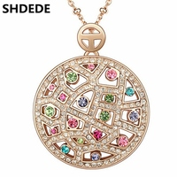 Austrian Crystal Vintage Necklaces Pendants Rose Gold Plated Fashion Jewelry 2016 Women Crystal Necklace 3537