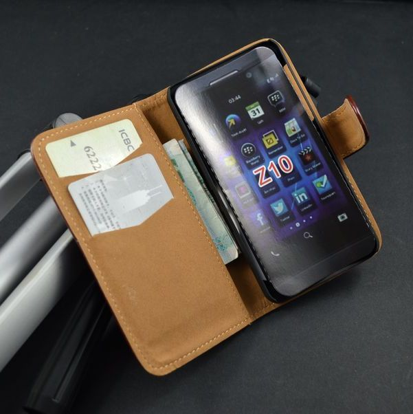 High quality Crazy Horse Leather Flip Case Cover For BlackBerry Z10 with Stand Function and Card Slots(China (Mainland))
