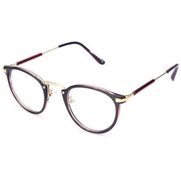 Eyeglasses Metal Frame : Callahaner Round Resin Lens Metal Frame Eyeglasses-in ...