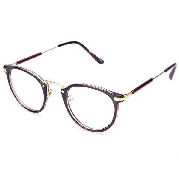 Callahaner Round Resin Lens Metal Frame Eyeglasses-in ...