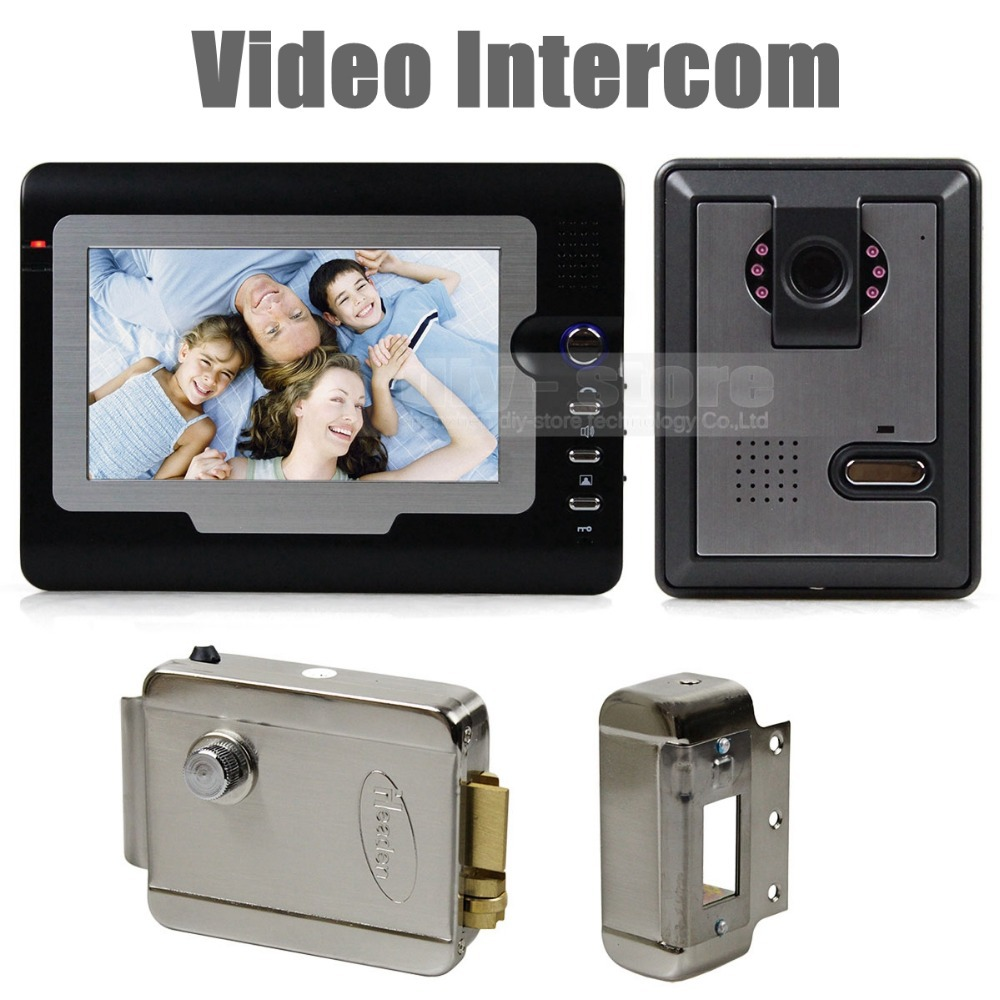 "Гаджет  DIY 7"" Wired Video Door Phone Intercom System Home Security Night Vision Camera Hands Free + Electric Lock None Безопасность и защита"