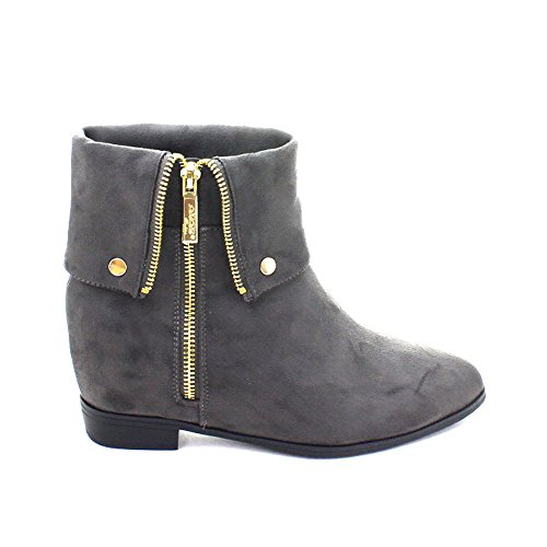 Women's Strappy Foldable Side Pointed Toe Zipper Hidden Wedge Ankle Booties Flat Shoes Ankle Riding Boots(China (Mainland))