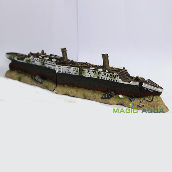 Titanic Wreckage Ship Cruises 38cm Long Aquarium Fish Tank Ornament Decoration(China (Mainland))