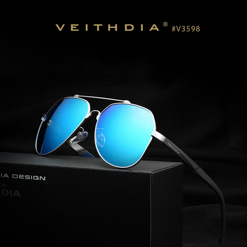 VEITHDIA Brand Men's Aluminum Magnesium Sunglasses Polarized Blue Lens Driving Fishing Eyewear Sun Glasses For Men Male 3598(China (Mainland))