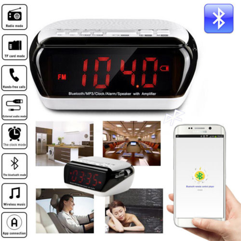Digital Alarm Clock Speaker FM Radio Stereo LED Smart Phone Voice Mini Wireless Bluetooth Multifunctional For Tablet PC(China (Mainland))