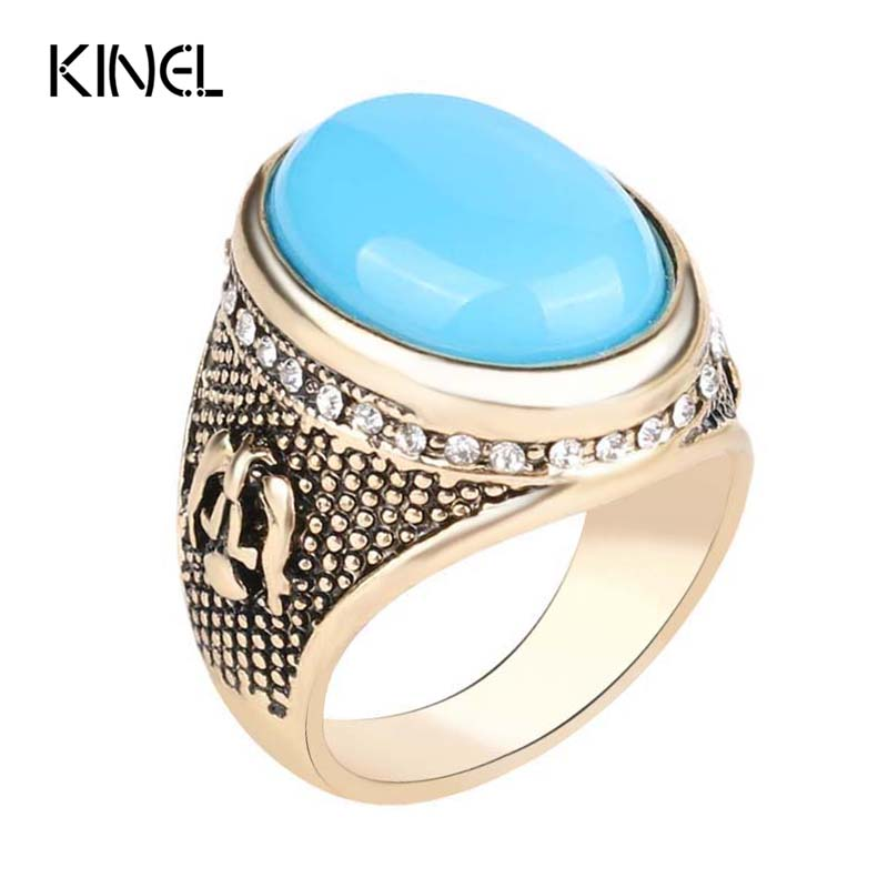 Hot Sapphire Jewelry Turquoise Ring Retro Look 18K Gold Ottoman Design Inlay White Crystal Mens Rings(China (Mainland))