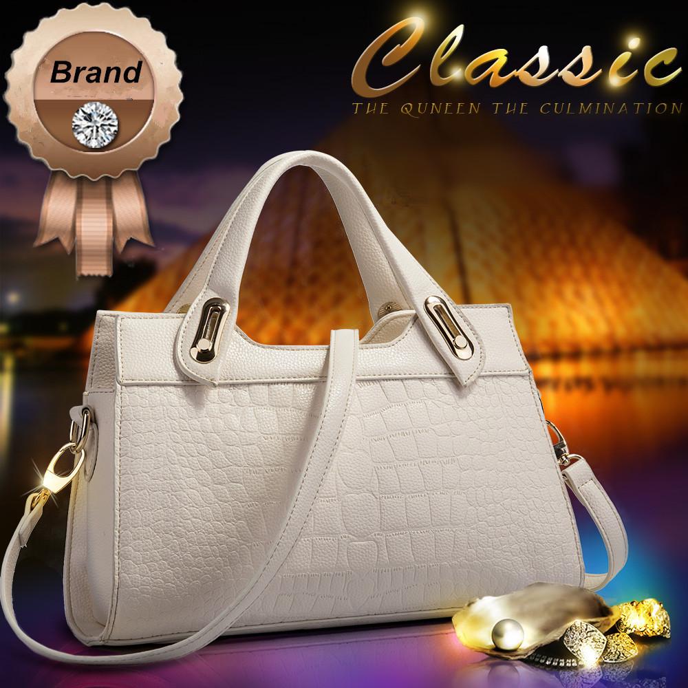 New Brand Women Handbag Crocodile Pattern Top Cowhide Women Messenger Bags Luxury Genuine Leather Shoulder Bag Female Tote Bag