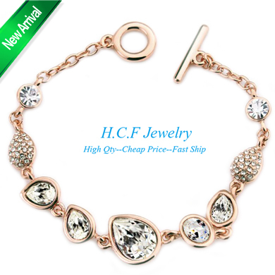 product 2015 New Arrival Christmas GIft 18K GP National Fashion Crystal Drop New Classical Romantic Bangle Bracelet Adorn Article