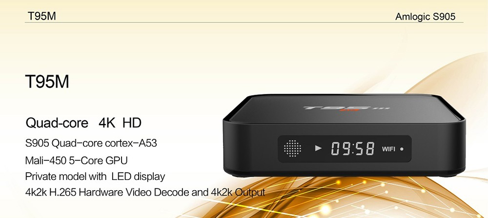 Android TV Box T95M 2GB/8GB Built In 2.4G 5G WiFi Amlogic S905 KODI 16.0 Android 5.1 Set-top Box Quad Core H.265 4K Media Player