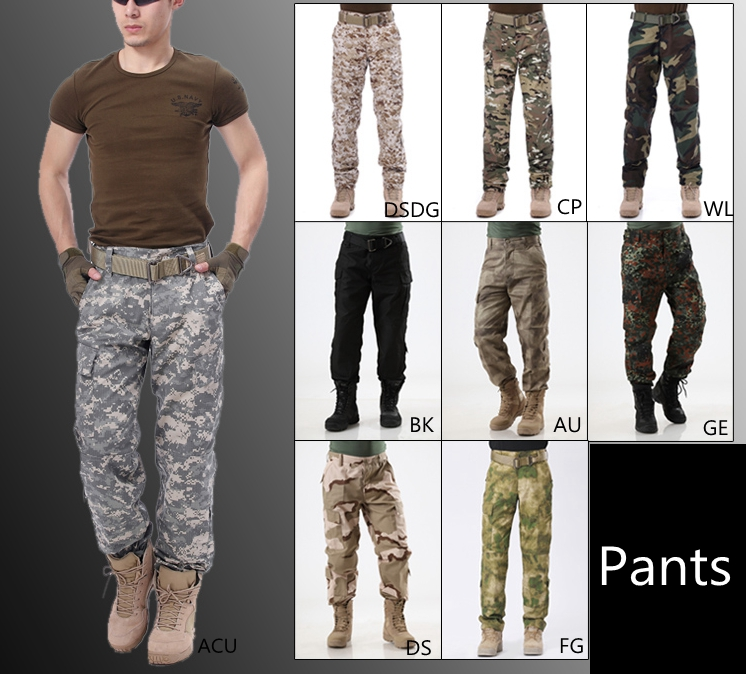 9 Color! Men Tactical Hunting Pants for Training Combat Outdoor Swat Camouflage Nylon Polyster Trousers