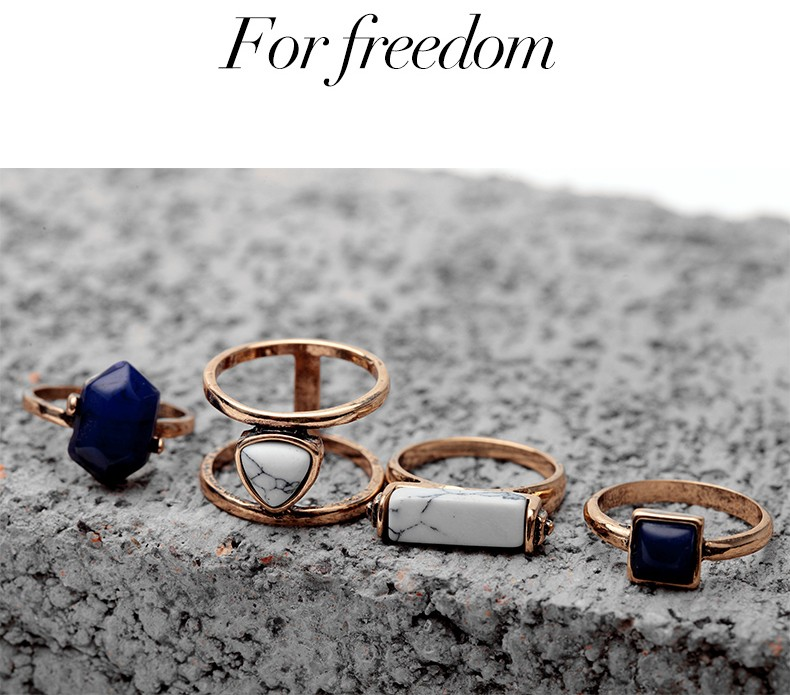 4PCS/Set New Arrival Women Vintage Ring Sets for Fingers Turquoise Stone Gold Plated Bead Finger Ring Bohemian Midi Ring Set