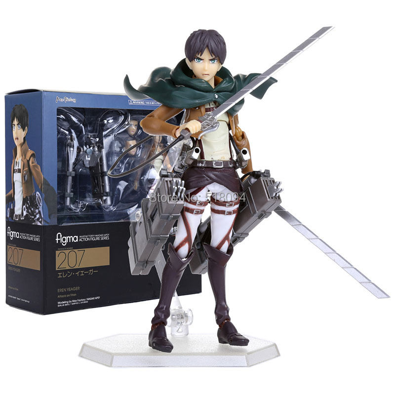 """Attack on Titan Eren Jaeger Figma 207 PVC Action Figure Collection Model Toy 6"""" 14CM Free Shipping ATFG062(China (Mainland))"""