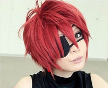 New D.Gray Man Lavi Anime Short Dark Red Cosplay Fashion Wig men's male brazilian peruvian prices man Hair Wigs