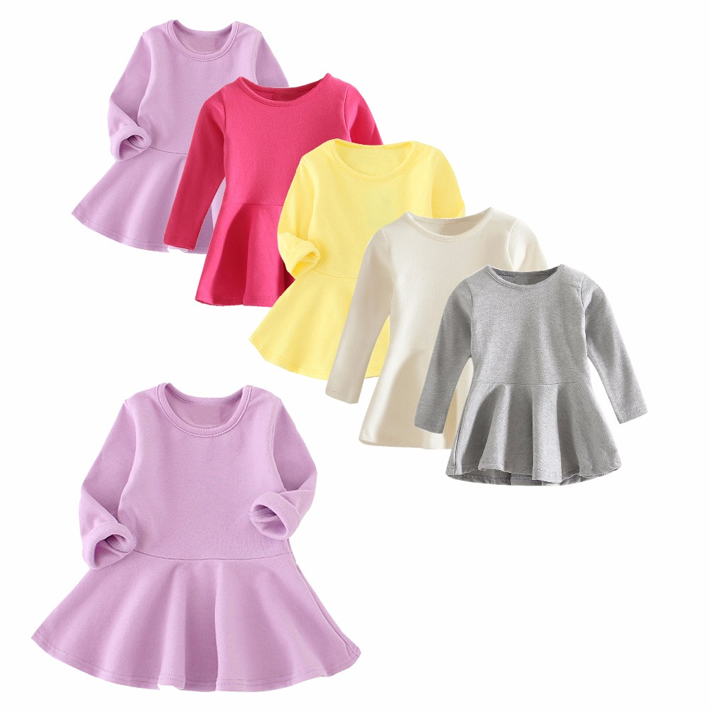 Korean Style Baby Girl's Long Sleeve Cotton Tops Toddler Infant T Shirt Blouse Solid Color Sweatshirts Tee(China (Mainland))