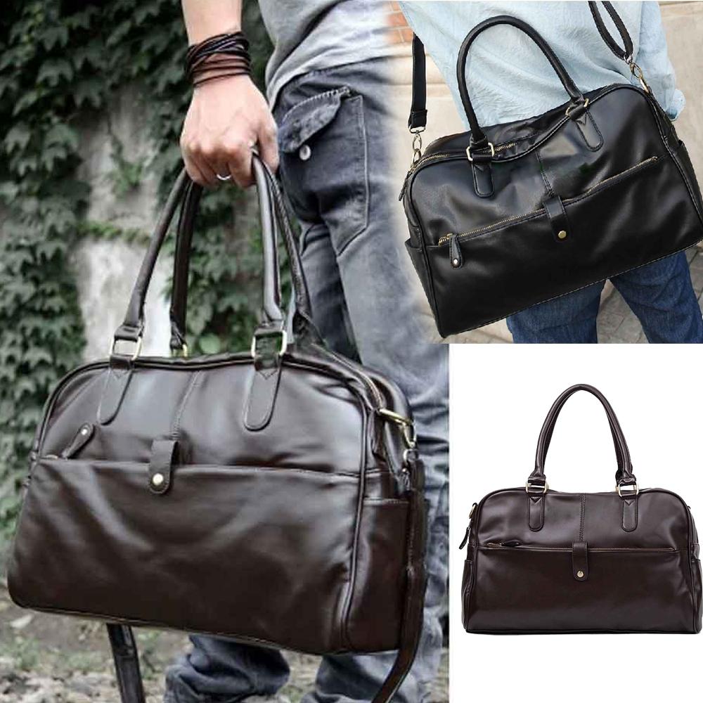 Hot Fashion Men Casual Faux Leather Handbag Shoulder Bag Sports Duffle Tote Bags(China (Mainland))
