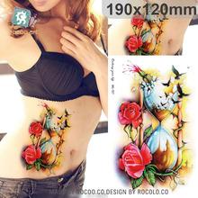 Beautiful waterproof temporary tattoos for men women 3D rose bird funnel design large tattoo sticker Free Shipping MC2727