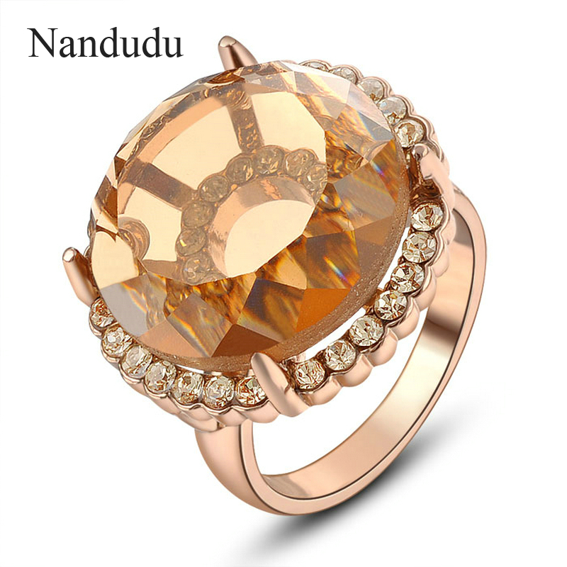 Nandudu 2cm Big Austrian Crystal Ring Special Design Female Girl Women Rose Gold Color Rings Fashion Jewelry Gift R695(China (Mainland))