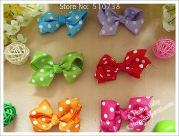 8 Color U-Pick 7.5cm Toddler Kid's Bowknot Hair Bows Printed Grosgrain Ribbon Butterfly Knot Baby Girl Hair Styling 500pcs