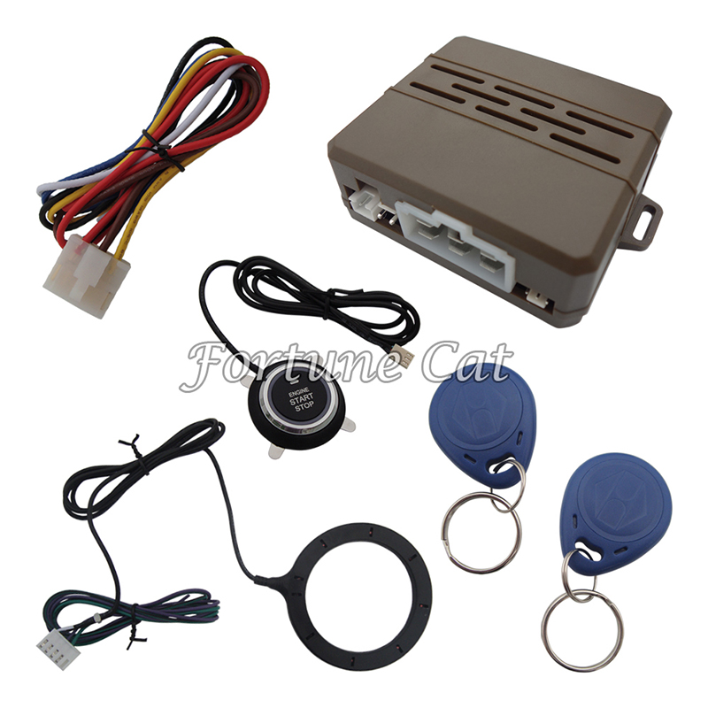 Stock In USA! New RFID Car Alarm System 2 Transponders/Car Keyless Engine Entry Push Start Button/RFID Engine Lock Immobilizer(China (Mainland))