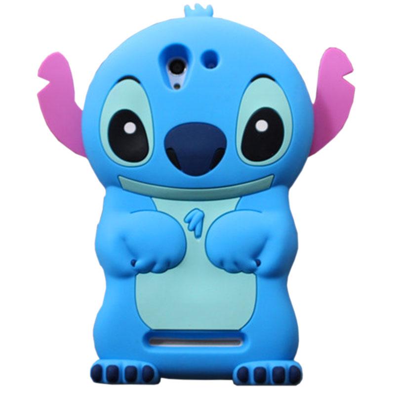Hot 3D Cartoon Life Funny New Blue Stitch Capinpa For Sony Xperia E3 E4 C3 T3 M4 Aqua St26i Silicon Case Cover Free Shipping P20(China (Mainland))
