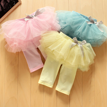 New 2015 fashion Children Girl Kids Culottes Leggings Gauze Pants Party Skirts Bow Tutu Skirts Free Shipping
