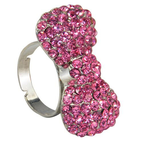 DSGS 5 x ( New Lovely Cute Pink Crystal Rhinestones Paved Silver Tone Bow Tie Ring(China (Mainland))