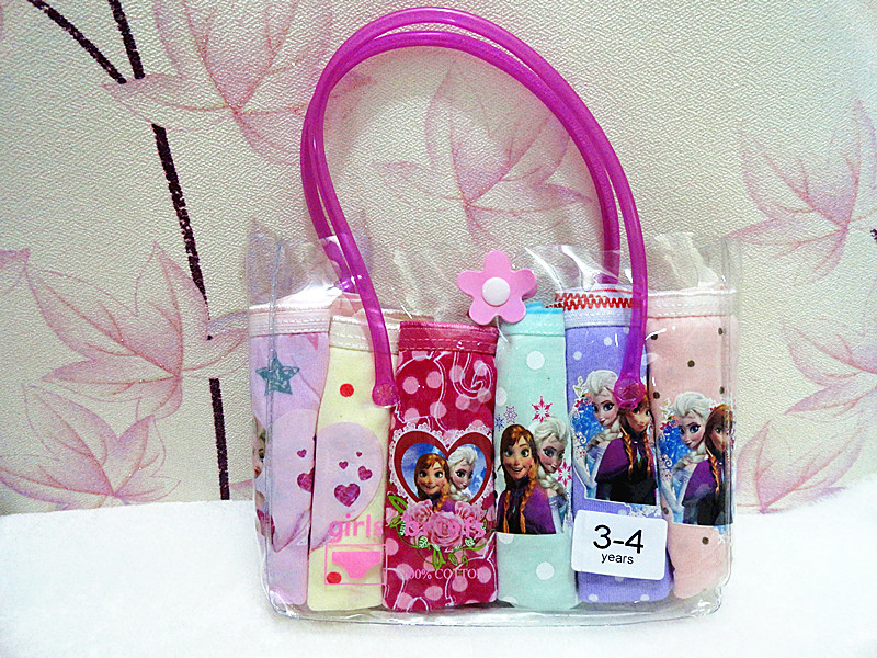 6 PCS/lot HOT Beautiful Gift Pack Girls Elsa Anna Cartoon Briefs Top Quality Kids Snow Cotton Underwear Mixed-Color Cute Panties<br><br>Aliexpress