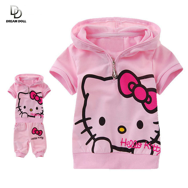 2015 New arrival fashion cute hello kitty children clothing short sleeve T-shirt +pants children kids suit kids clothes(China (Mainland))