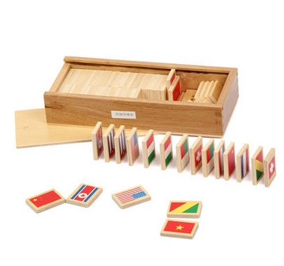 Montessori Early learning toy educational aids 40 national flag cards  -  education wooden world store