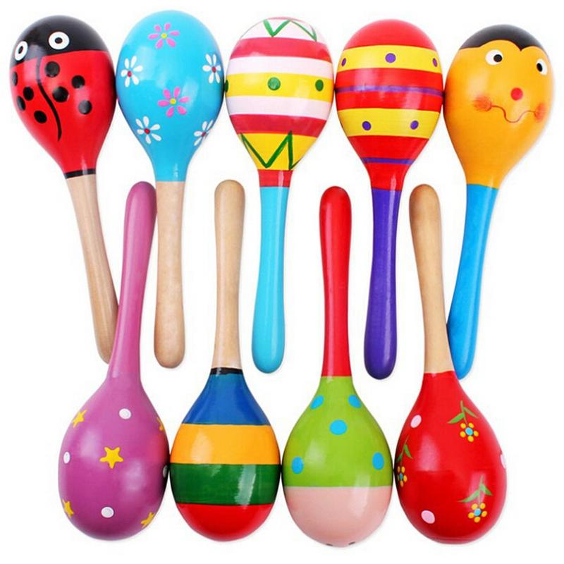 1Pcs Wooden Maraca Wood Rattles Kids Musical Party favor Child Baby shaker Toy Hot Baby Baby Rattles Mobiles #10(China (Mainland))