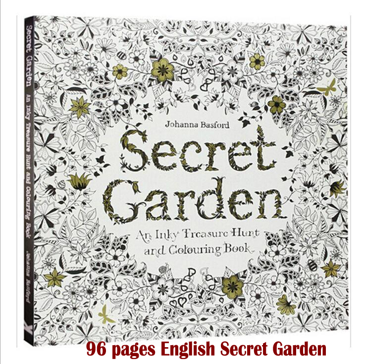 96 pages English Secret Garden coloring books for adults kids Relieve Stress Kill Time Graffiti Painting Book libros 25cm x 25cm(China (Mainland))