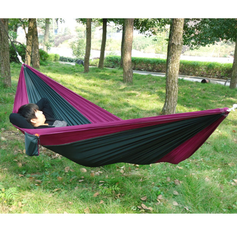 Portable Outdoor Traveling Camping Parachute Nylon Fabric Hammock For Two Person 8 Colors E2shopping(China (Mainland))