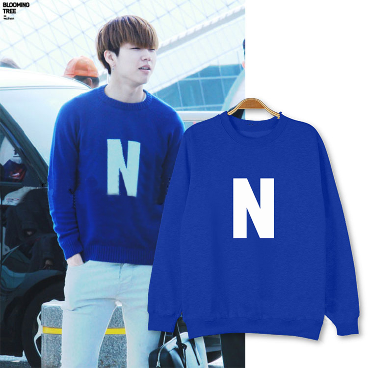 2015 Kpop Infinite Nam Woohyun N Hoodie Album Reality Long Sleeve Blue Hoodies Kpop Clothes