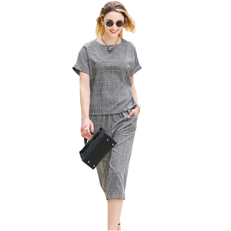 2016 summer New style 2 piece set women Leisure suit Cotton Linen Two-piece Suits Female Trouser Sets Plaid wide-legged pants(China (Mainland))