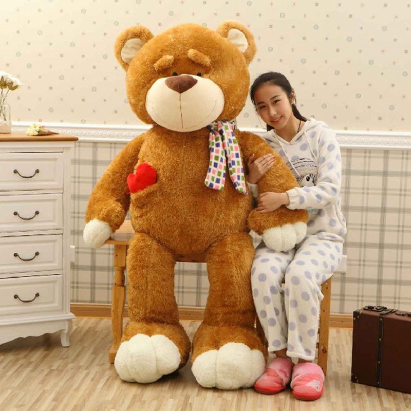 very large 160cm scarf teddy bear soft plush toy brown bear hugging pillow,surprised birthday gift w5273(China (Mainland))