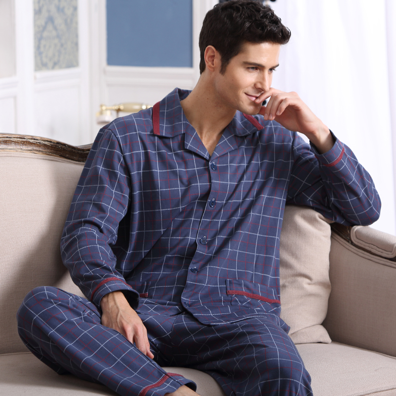 Men s Pajamas Spring Autumn Long Sleeve Sleepwear Cotton font b Plaid b font Cardigan Pyjamas