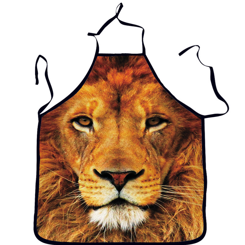 2015 New Brand Tiger 3D printed Apron Cleaning Aprons/Novelty Printed Apron Kitchen Cooking BBQ Apron delantal cocina(China (Mainland))