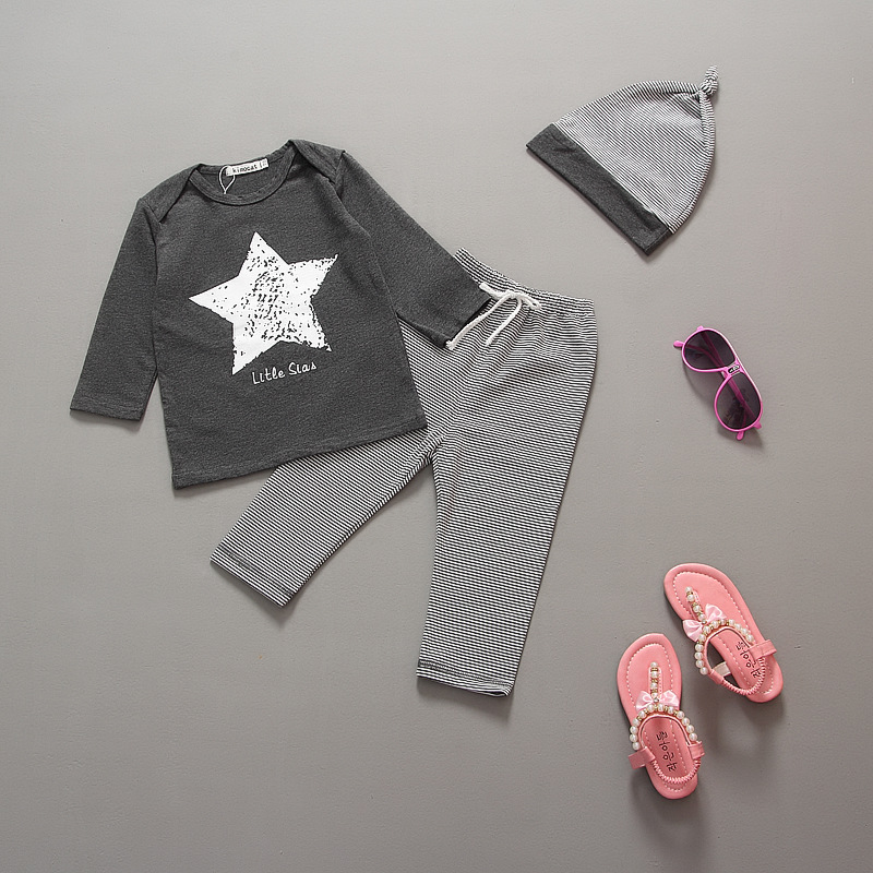 Hot retail wholesale 2015 autumn new arrival fashion children clothing suit baby boys/girls star sets 3pcs (pants+t-shirt+hat)(China (Mainland))