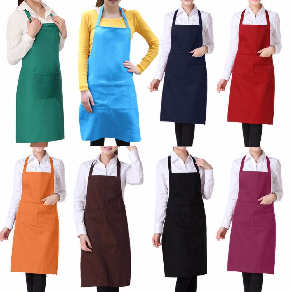 Women Apron Korean Waiter Aprons With Pockets Restaurant Kitchen Cooking Shop Art Work Apron E2shopping(China (Mainland))