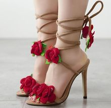 Size 4~9 Red Flower Women Shoes Lace Up Summer High Heels Shoes Wedding Party Women Pumps zapatos mujer (Check Foot Length)(China (Mainland))
