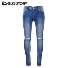 GLO-STORY 2016 New Arrival Fashion High Street European Style Denim Pants Mid Waist Skinny Button Fly Long Ripped Women tr Jeans