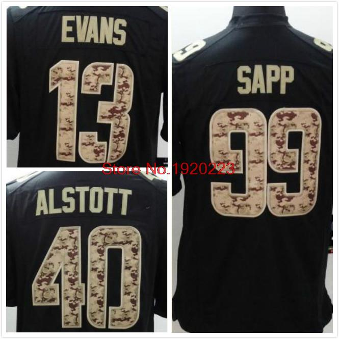 13 Mike Evans 99 Warren Sapp 40 Mike Alstott Black Salute TO Service Jersey Free Shipping(China (Mainland))