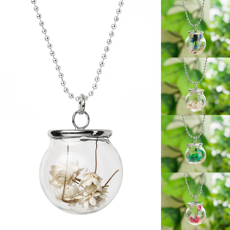 New Hot Handmade Glass Bottle Silver Ball Chain Pendant Dried Flower Necklace #84062(China (Mainland))