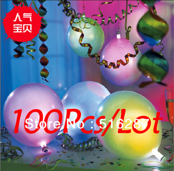 100pcs/Lot kids party favors decoration 5 Colour novelty Led Light Flashing Balloons, Festival wedding Balloons free shipping